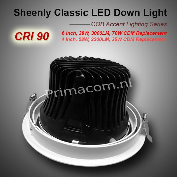 SHEENLY 6 inch cob downlight 38W,  24 and 40 degree available, Warm White, white frame